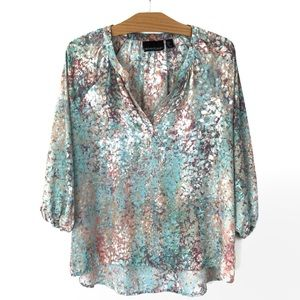 Cynthia Rowley Watercolor Pastel Pebble Blouse S